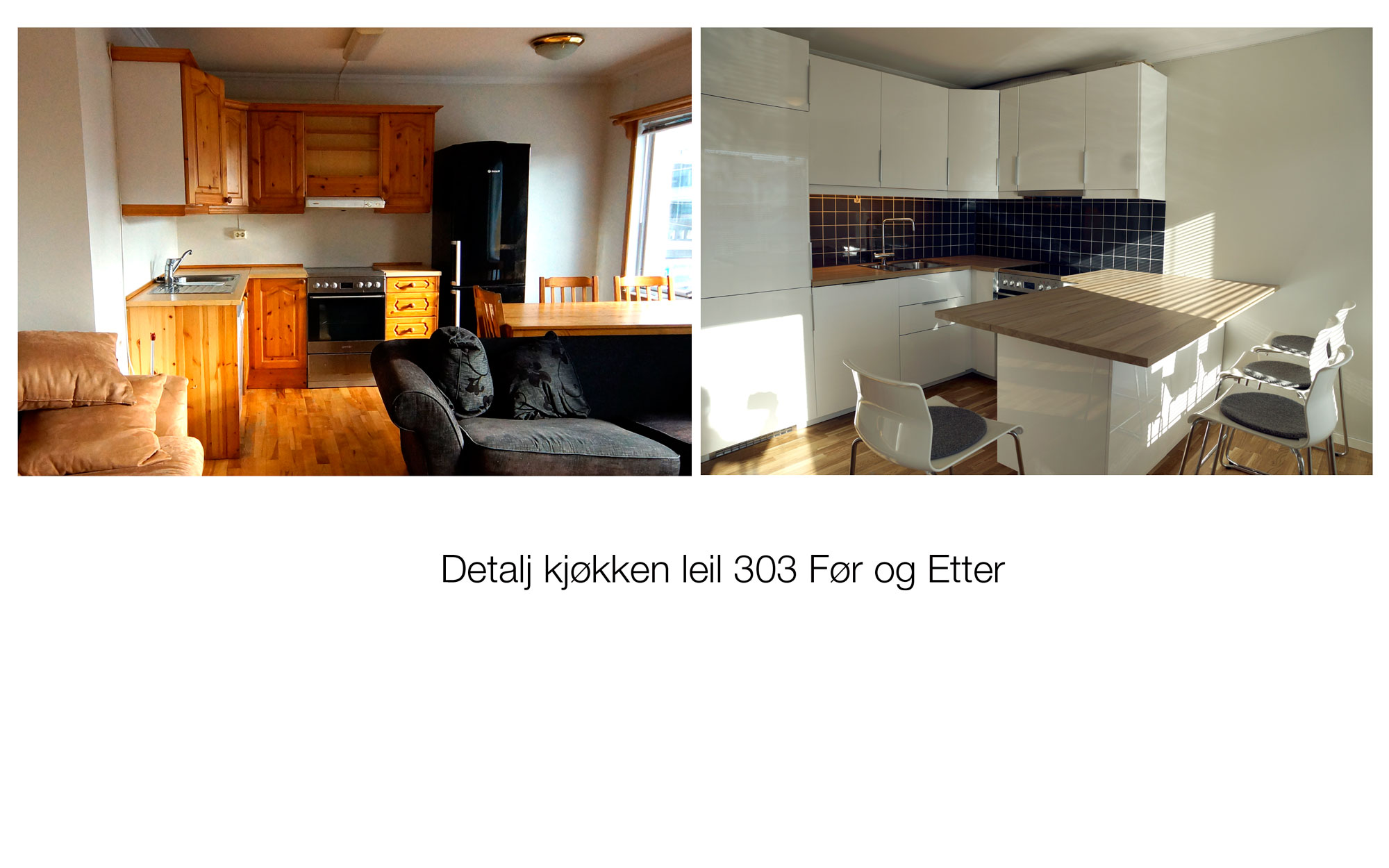 Detalj kjøkken leil 303 Før og etter
