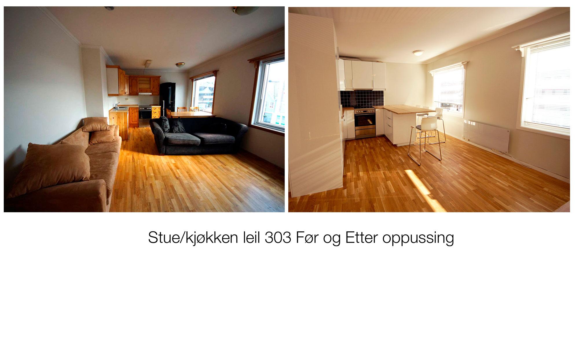 Før og etter stue/kjøkken leil 303