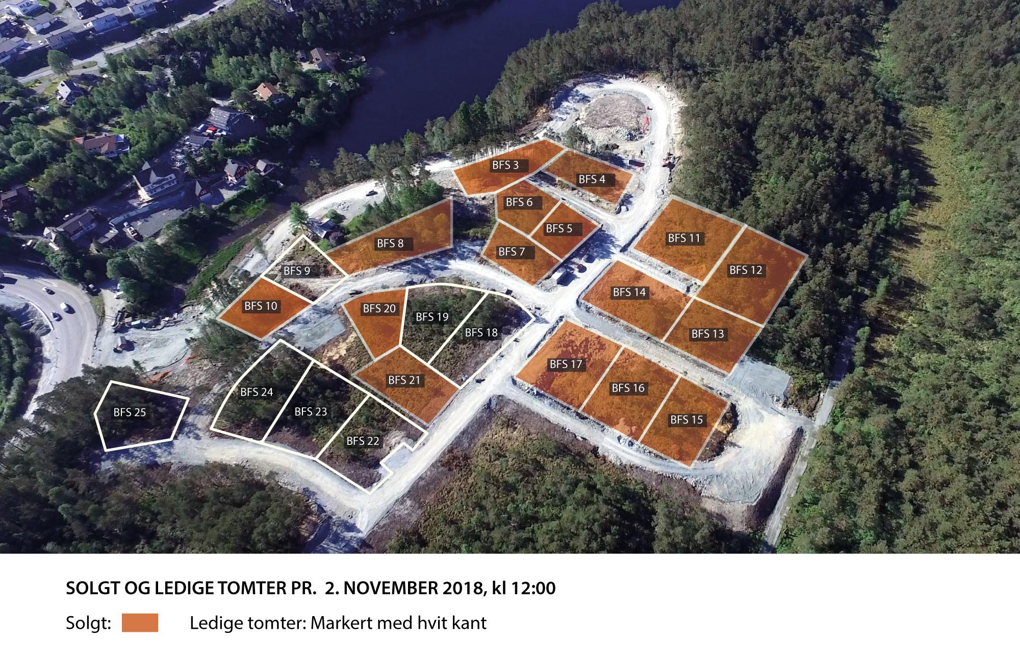 16 Tomter er solgt, men fortsatt 7 ledige tomter i dette flotte tomteområdet.